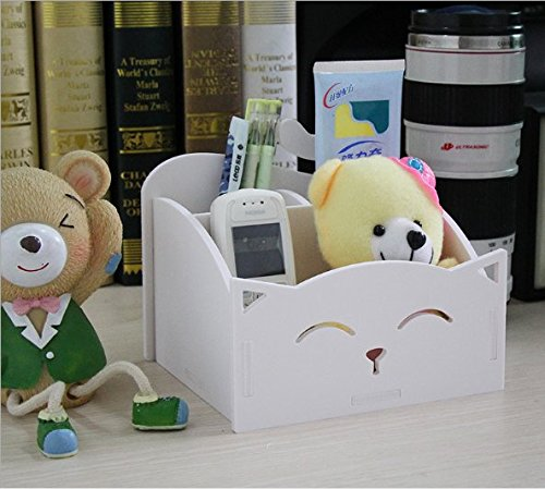 White DIY Cute PVC Cat Desktop Organizer Home/Office Supplies Storage Holder Decor for Pen/Pencil/Glasses/Cosmetics/ Stationery