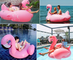 74.8*74.8inches Inflatable Flamingo Pool Float Floating Rideable Swimming Pool Toy Seat Boat with Pump Swimming Pool Accessories