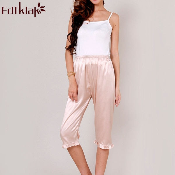 Women's Lounge Pant 2017 Spring Summer Faux Silk Plus Size S-XXXL Pyjama Trousers Sleep Pants Women White Pajama Bottoms Q338