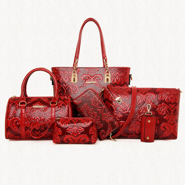 6 Pcs/Set Pu Leather Embossing Composite Bag Chinese Styles Women Handbag Messenger Bag Fashion Shoulder Bag Purse Wallet ST05