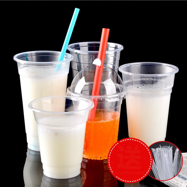 Transparent plastic cup disposable drink cups tea cup thickened without a cover 100pcs