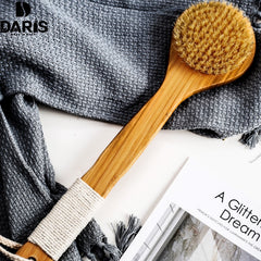 SDARISB Natural Bristle Long Wooden Body Masage Health Care Bath Brush For Bath Body Scrub Anti-slip Handle Spa Shower Brush