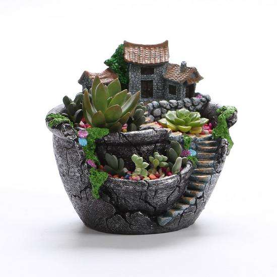 1Pc Resin Flower Pot for Succulent Plants Flowerpot Microlands chaft Macetas Landscape Pot Garden home Decoration Free shipping
