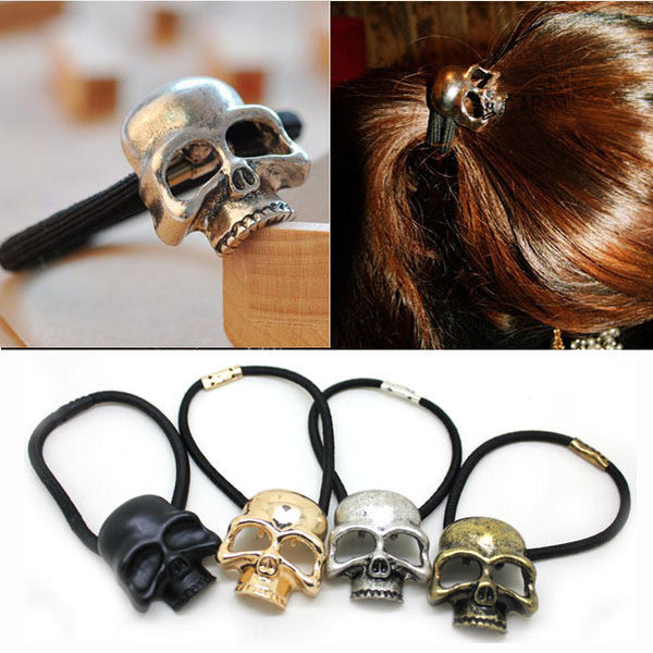 Halloween Retro Punk Gothic Metal Skull Tie Fashion Birds Crow Skull Elastic Hair Bands Accessories