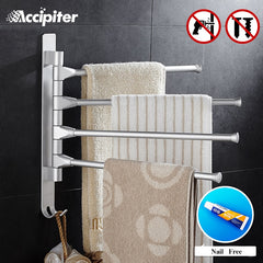 Nail Free 30CM Towel Rack Multi Arms Towel Hanging with Hooks Bathroom Towel Rack Movable Towel Bars Bathroom Products