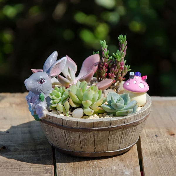 Home Garden Decors Cute Bunny Design Landscape Natural Resin Planter Flower Pot New Arrival 2017