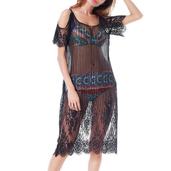 2018 Swimwear Women Dress Lace Bathing Tassel Loose Beach Bikini Cover Up Swimsuit Blouse Cover Up Beach Accessories