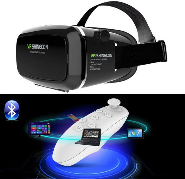 New Top Brand Shinecon VR 360 Viewing Immersive Amazing Virtual Reality 3D VR Headset Google Cardboard Games Glasses Compatible +Remote Controller Free Shipping