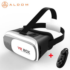 New Arrival Cardboard VR BOX 2.0 Virtual Reality Goggles 3D Glasses VR Headset For Iphone  Android Smartphone + Bluetooth Remote Controller Free Shipping