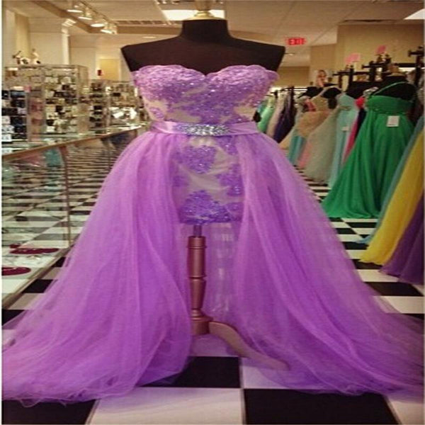 New Fashion Lavender Lace Applique Removeable Tulle Skirt Sweetheart Elegant Dress for Women