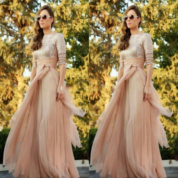 New Fashion Three Quarter Sleeves Bridesmaid Chiffon Sequins Champagne Gold Custom Made Maid Of Honor Wedding Party Dress for Women