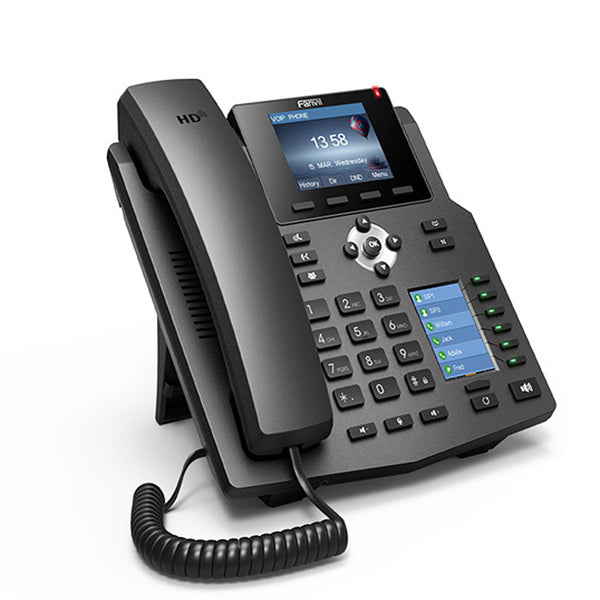 Fanvil X4 IP Phone 4 SIP Lines HD Voice Enterprise Phone with Intelligent DSS Key-mapping LCD Display