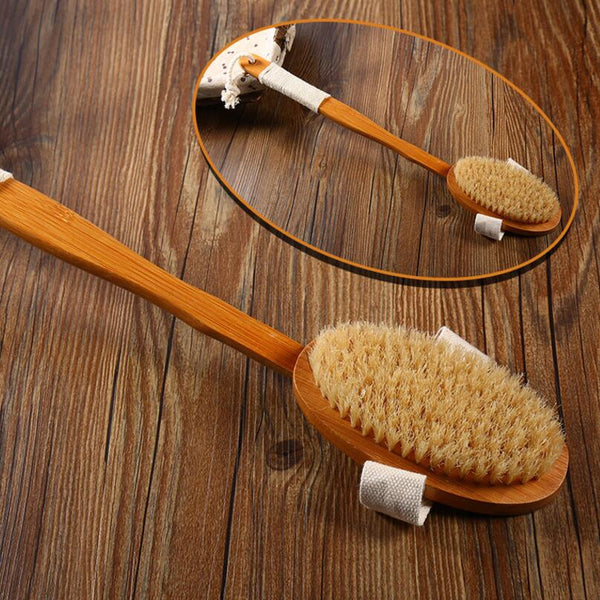 Natural Bristle Bath Brush Long Handle Wooden Bristles Soft Hair Rub Back Shower Brush Remove the horny massage brush D20