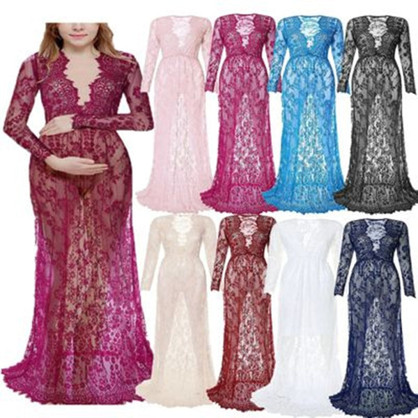 d77df9222ee38 Fashion Maternity Photography Props Maxi Maternity Gown Lace Maternity  Dress Fancy Shooting Photo Summer Pregnant Dress Plus