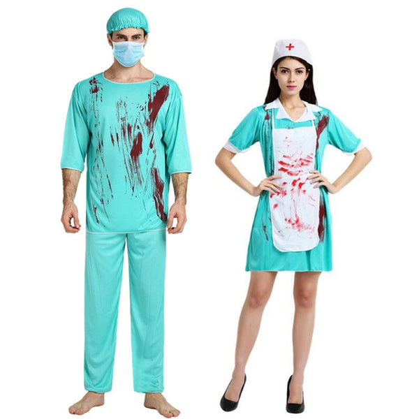 Umorden Carnival Party Halloween Bloody Doctor Nurse Costumes Men Women Couple Adult Scary Doctor Zombie Costume Cosplay Dress