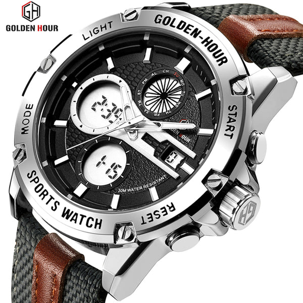 GOLDENHOUR Men's Fashion Outdoor Sports Analog Digital Watches Waterproof LED Display Army Watch Military Wristwatches for Men