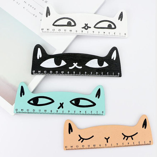 30 Pcs/lot Cartoon cat wooden ruler straight ruler office school supplies student stationery party favor