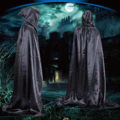 Vampire Hooded Cloak Medieval Witch Robe Cape Floor-length Halloween Costume