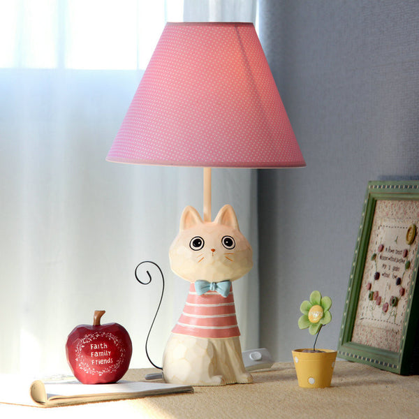 Child Bedroom Table Lamps Cartoon Cute Cat Model Iron Tail Fashion Creative Novelty Desk Lamp Home Children Reading Light