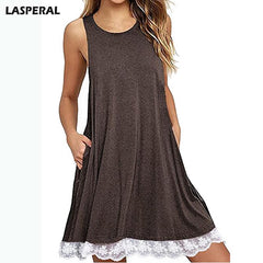 LASPERAL Plus Size Summer Dress Women Casual Sleeveless Loose Lace Dress  Fashion Women O-neck Vestidos Tank Top Women Dress