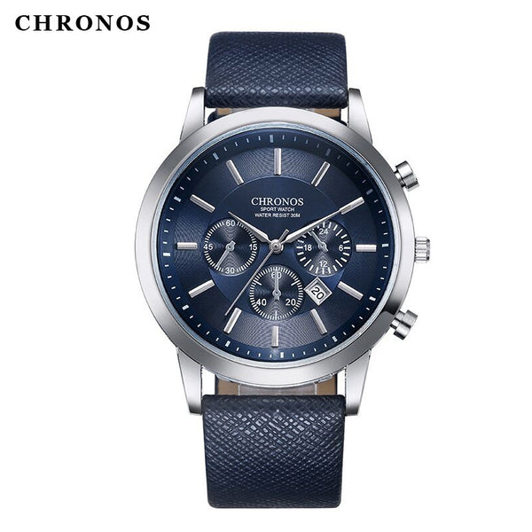 2017 New Arrival CHRONOS Clock Casual Military Quartz Waterproof Hour Date Clock Watches for Men