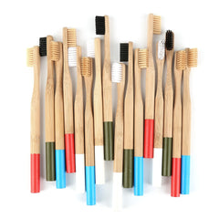 5pcs Brush Cover/ 1 pc Natural Bamboo Toothbrush Soft Head Round Bamboo Handle Soft Bristle White Toothbrush Adult Toothbrush