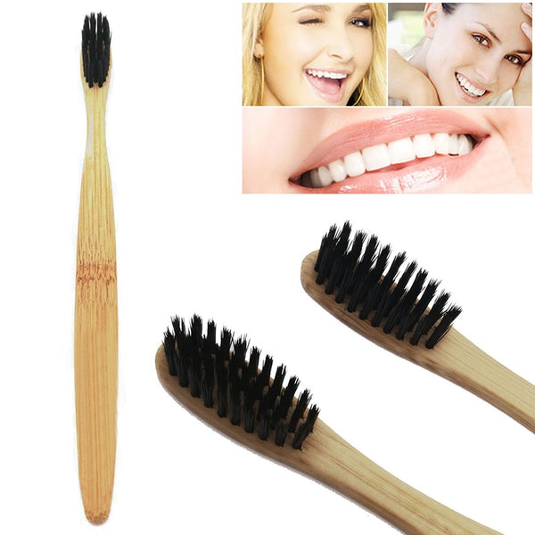 Y&W&F NEW 1pc Natural Bamboo Toothbrush Bamboo Charcoal Toothbrush Low Carbon Wood Handle Protable Travel Use Oral Toothbrush