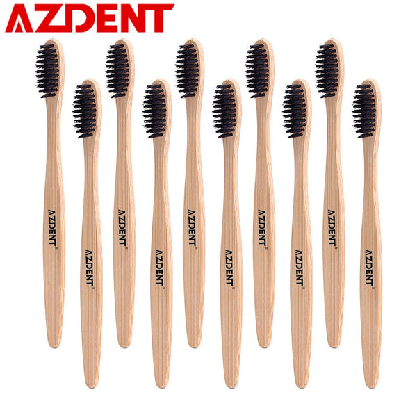 AZDENT 10Pcs/Lot Wooden Handle Toothbrush Environment Bamboo Charcoal Tooth Brushes Double Ultra Soft Black Heads Oral Cleaning