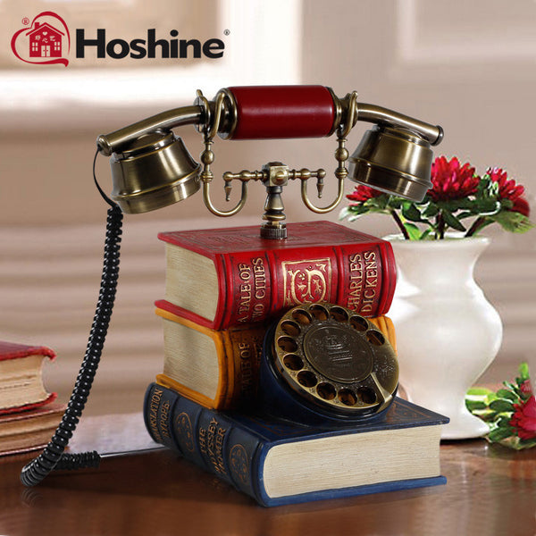 Hoshine New Brand Novelty Book Corded Dect Telephone Table Vintage Rotary Phone Cable Telefone Fixo Answer Machine Gift