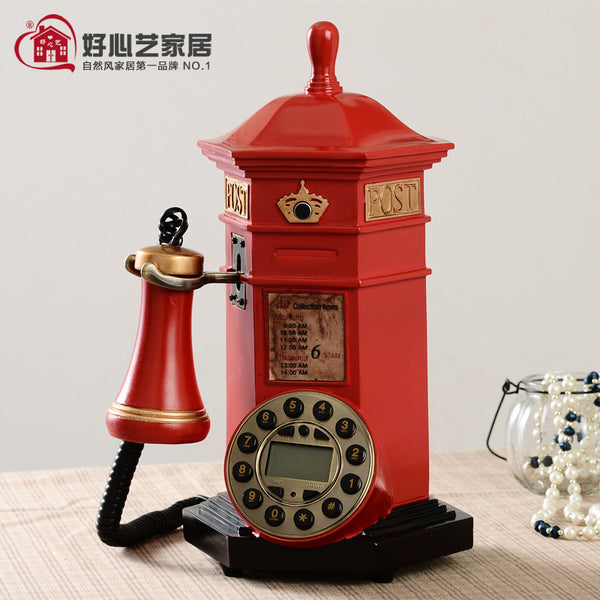 Hoshine Novelty Red Push Button Corded Telephone Home Fashion Decoration Vintage Phone Mailbox House Decor Answering Machine