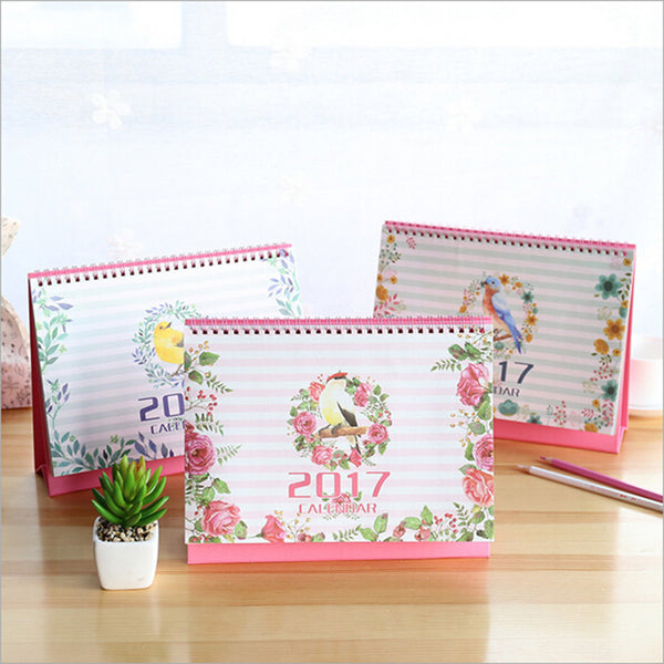 2017 Kawaii Bird Colored Planning Printing Table Caleddar 9/2016-12/2017 Office Accessory Diario Creative Planner Calendars 2017