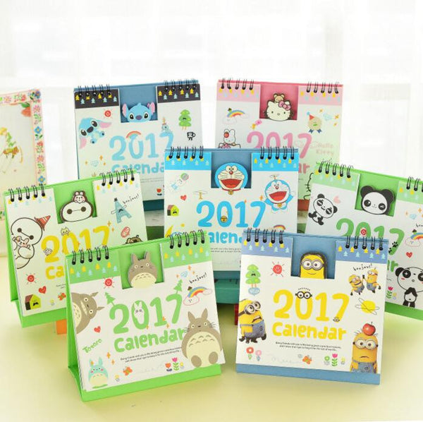 Year 2017 Cute Cartoon Characters 3D Desktop Paper Calendar dual Daily Scheduler Table Planner Yearly Agenda Organizer