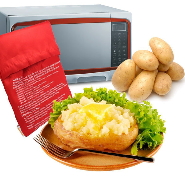 2016 1PC NEW Red Washable Cooker Bag Baked Potato Microwave Cooking Potato Quick Fast (cooks 4 potatoes at once) Hot Selling