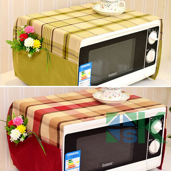2016 New Red Green Blue Plaid Pattern Cloth Multifunction Pastoral Style Microwave oven cover Dust Proof Cover Storage Bag