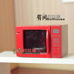 Dollhouse miniature kitchen appliance red microwave oven  simulation kitchenware