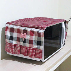 Hot Sale 35*100cm Simple Microwave Oven Dust-Proof Mat Red Plaid Oven Pad with Pocket Decor