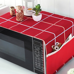Superior Quality Red Plaid Microwave Oven Cover Hood Oil Waterproof Dust Cover Cover Microwave Oven  Gremial