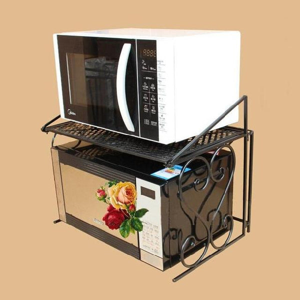 Iron microwave oven rack folding double layer microwave shelf kitchen storage rack oven rack