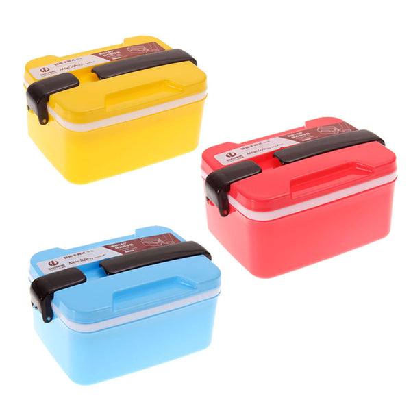 Hot Sale 2Layer Microwave Handle Bento Lunch Box Picnic Food Container Spoon Storage Blue Yellow Rose Red Free Shipping V1NF