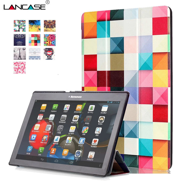 Flip PU Leather 3-folding Smart Universal Case for Lenovo Tab2 A10 10.1 Tablet PC Fashion tablet Cover For Tab2 A10-70 a10-30