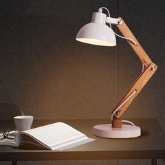 Simple Nordic Personality Creative Wooden Reading Table Lamp Bedroom Bedside Study Adjustable Table Light Free Shipping
