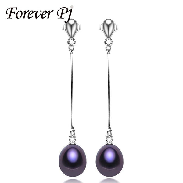 FOREVER 925 sterling silver earrings for women high quality genuine Grade AAAA water drop freshwater pearl earrings, 925 jewelry