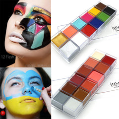 IMAGIC 12 Colors Flash Tattoo Face Body Paint Oil Painting Art Halloween Party Fancy Dress Beauty Makeup Tools