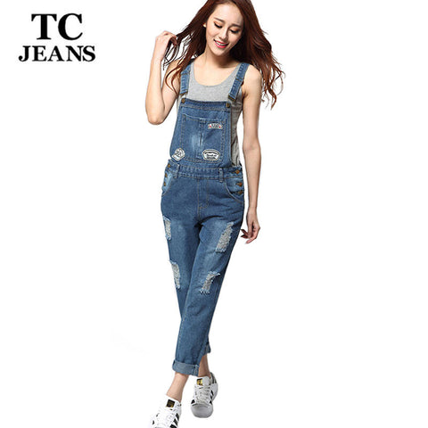 TC 2016 New Womens Summer Casual Straight Ripped Distressed Print Hole Bleached Denim Jeans Jumpsuits Monos Vaqueros WT00546