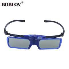 BOBLOV MX30 Blue DLP-Link 96HZ-144HZ USB Rechargeable 3D Active Shutter Glasses Compatible DLP 3D Projector Portable 3D Glasses
