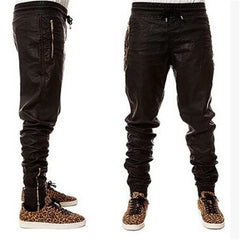 2017 Hot Sale Kanye West Hip Hop Big and Tall Fashion Zippers Jogers Faux Leather Pants for Men - Black