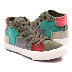 New Arrival Color Block Decoration High Canvas Fashion Casual Womens Shoes