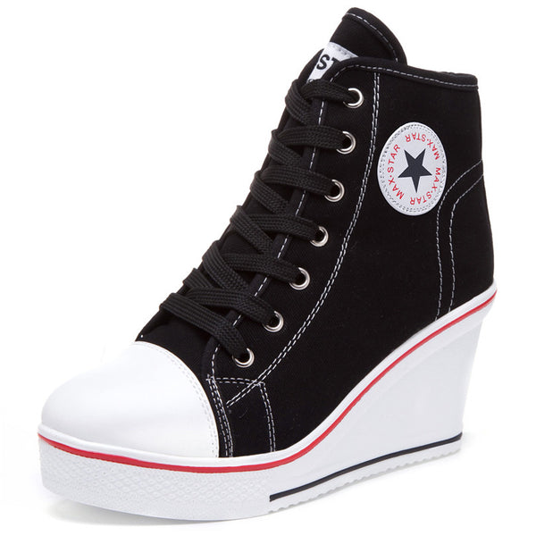 New Sport Casual Platform Wedges High Top Thick Soled Elevator Canvas Womens Shoes