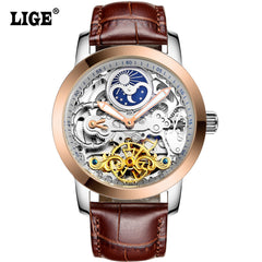 New Fashion LIGE Luxury Casual Clock Automatic Skeleton Business Mechanical Relogio Male Montre Watch