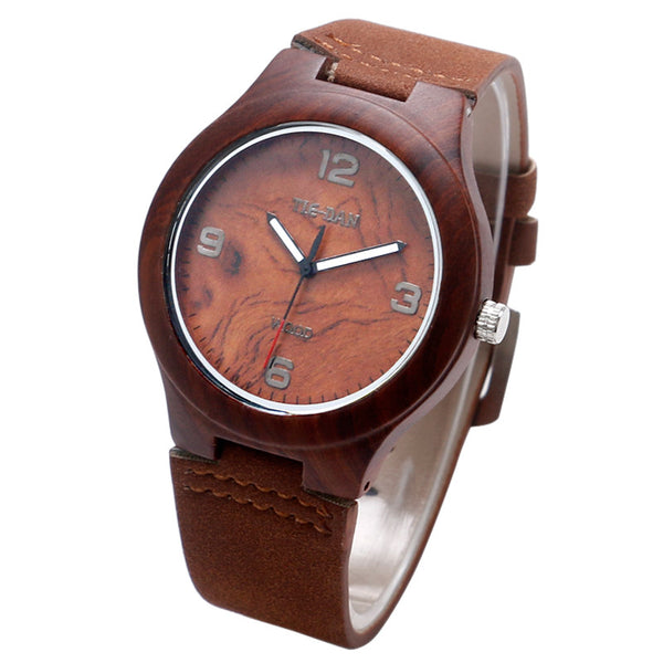 New Arrival Creative Brown Natural Wood Genuine Leather Strap Quartz Wristwatch for Men and Women